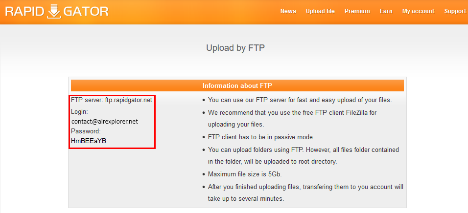Use Air Explorer to upload files to Rapidgator | Air